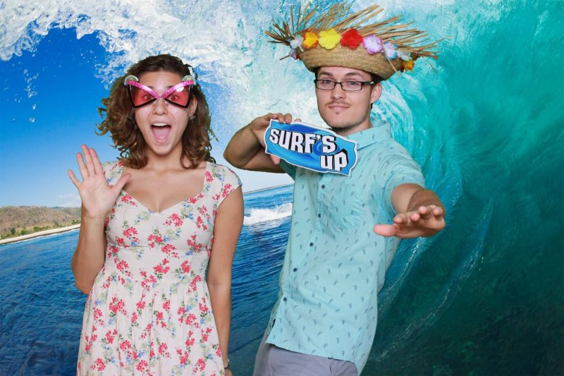 Green Screen photo booth rental surfing a wave