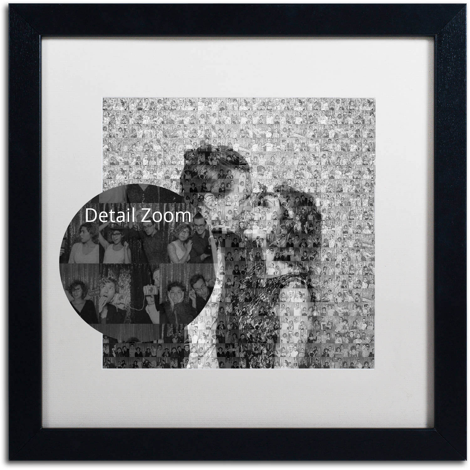 Couple kissing in a framed photo collage