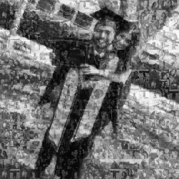 Couple posing for graduation picture in a black and white mosaic collage
