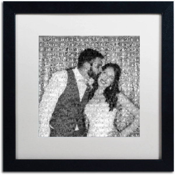 Framed photo mosaic of a couple kissing